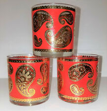 3 CULVER RED & GOLD PAISLEY low ball Tumbler bar glasses 22 kt GOLD accents