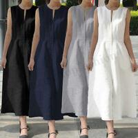 Womens Summer Casual Sleeveless Dress Evening Cocktail Party  Long Maxi Dress
