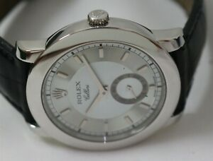 2004 Rolex Cellini Platinum Ref 5241 Ice Blue Dial 38mm Manual Wristwatch w/Box