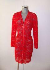 Sexy transparentes rotes Kleid Stretch Spitze mit durchgehendem RV Gr XL / 42-44