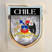 Pegatina Chile Escudo de Armas 3D Grunge Bandera Resina Relieve Adhesivo
