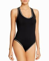 La Blanca Threading Along Black Silver & Gold One Piece Size 4 Swimsuit NWT $123
