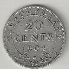 NEWFOUNDLAND,  CANADA, 1904 H,  20 CENTS,  SILVER,  KM#10,  FINE