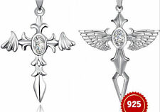 A pair of Angel and devil Sterling Silver Pendants with Swarovski crystal --PD17
