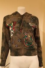 NWT Ed Hardy Womens Hoodie Butterfly & Skull  Olive Size XS FREE GIFT LOOK