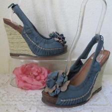Miss Sixty Tamara Platform Wedge Flower Sandals 9 US 39.5 EU Blue Leather Jute