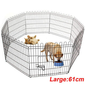 Pet Fence 8 Panel Puppy Dog Cat Rabbit Pig Playpen Enclosures Run Cage Foldable