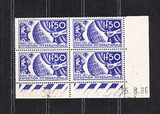 timbre France bloc de 4 coin daté expo Paris 1937  le 1f50 bleu  num: 327  **