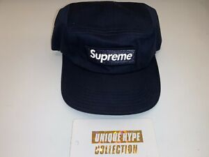 SUPREME 2015 F/W REFLECTIVE 3M BOX LOGO CAMP CAP HAT 5 PANEL USED NAVY PRE-OWNED