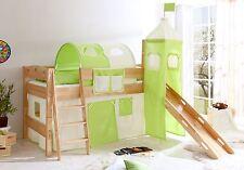 Lit mezzanine avec toboggan et tour EMMA  Hêtre naturel tissus Beige-Vert
