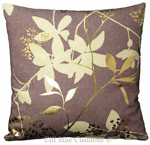 Harlequin Fusion Fabric Amethyst Gold Neutral Floral Cushion Pillow Cover
