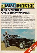 Opel D.O.T. Driver Vol 1 No 1 Motorshow 1974 UK Market Brochure Ascona Manta
