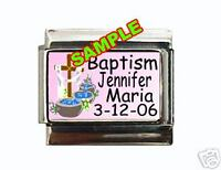 Baptism ANY NAME & DATE Custom Italian Charm baby pink