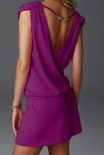 Purple V Neck Open Back Beaded Summer Bikini Beach Cover Up Dress S M  8 10 12