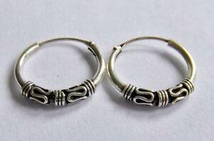 Pair Of Sterling Silver  Tribal  Bali Hoop  Earrings  12  mm  !!      New  !!