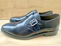 Mens SAMUEL WINDSOR England Black Full Leather Classic Monk Shoes size 10 45eu