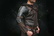 Medieval Single Leather pauldron shoulder armor w/ royal lily Musketeer cosplay
