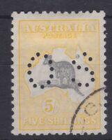 K1010) Australia 1929 5/- Grey & yellow SM wmk. Kangaroo BW 45,