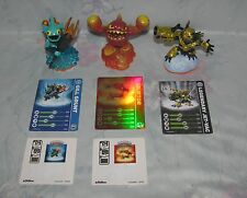 Skylanders Giants Set Lot of 3 - Gill Grunt, Eruptor, Legendary Jet-Vac - Cards