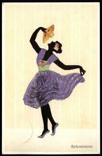Fasto-Silhouetten * Scherenschnitt FÄCHERTÄNZERIN * Künstler-AK MARTE GRAF, 1919