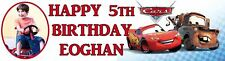 Cars Cartoon Birthday Party Themed Personalised Banner With Photo - just ask??