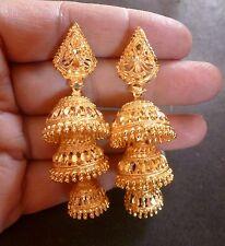 22K Gold Plated 3 Steps Indian Bridal Party Jhumka Jhumki Earrings Set