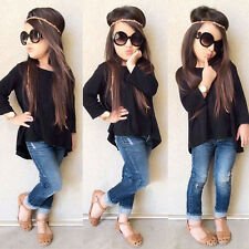 Toddler Baby Kids Girls Outfits Clothes Set Long Sleeve T-shirt Tops+Jeans Pants