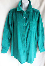 WOMAN WITHIN Turquoise Wide Wale Barn Jacket Sz M Button Up Shirt Cotton Pocket