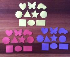 """30 x FOAM SHAPES """"PACK 2 PURPLE, RED, YELLOW"""", 3 colours, 10 shapes"""