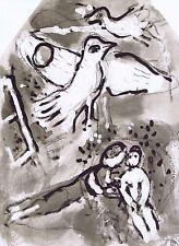 Marc CHAGALL 1973 Lithograph due uccelli stampato da Mourlot EDN 2000