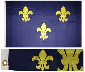 4x6 Embroidered Sewn Fleur De Lis 3 Blue Synthetic Cotton Flag 4'x6' w/ Clips