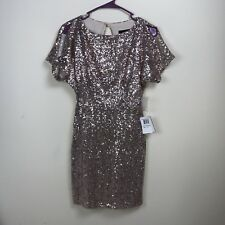 B. DARLIN Homecoming Cocktail Dress Rose Gold Sequin Bling Size 1/2 Split Sleeve