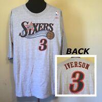 Allen Iverson Philadelphia 76ers Reebok Player Jersey Men's T-Shirt Sz XXL Grey