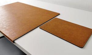 PM Gewinkelte Schreibtischunterlage mit Mauspad Lora Leder 60 x 38 Senft Braun