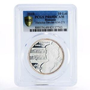 Romania 10 lei 150th Anniversary of Hariclea Darclee PR69 PCGS silver coin 2010