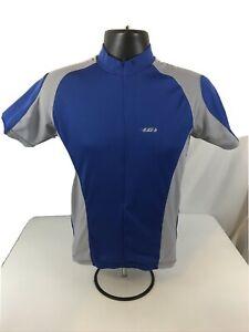 Louis Garneau Cycling Jersey Size Small 3/4 Zip 3 Pockets Blue and Grey Biking