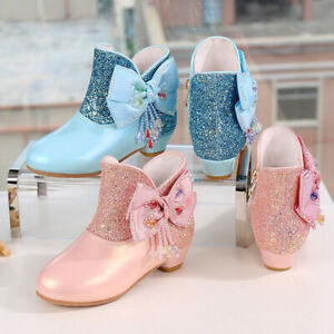 Kids Girls Glitter Sequin Bowknot Zipper Princess Party Ankle Snow Boots Shoes