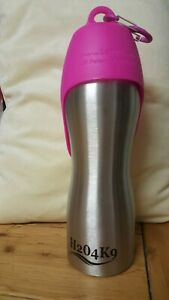 H204K9 Dog Water Bottle. Stainless Steel & Pink. 25oz.