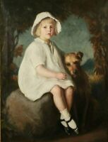 """high quality oil painting handpainted on canvas """" girl with dog """""""