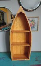 Pantalla de forma de barco de 3 Niveles Estante De Pared Baño De Madera Unidad De Diseño Náutica 64cm H