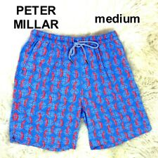 NWOT Peter Millar Mens Sz M Medium Swim Suit Trunks Drawstring Lined Blue Lizard