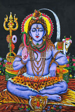 """100% Cotton Indian Traditional Wall Hanging Poster 30X40"""" Lord Shiva Printed Art"""