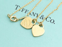 TIFFANY&Co Double Heart Necklace 18k Yellow Gold excellent