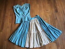 Vintage 50s Square Dance Two Piece Set Small Rockabilly Petticoat Rhinestones