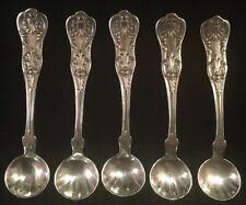 Set Of 5 Gorham Kings III Sterling Silver Salt Dips / Spoons No Monograms