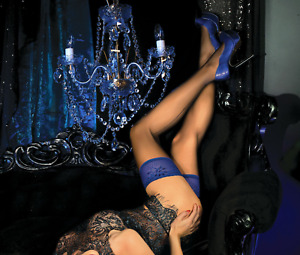 SALE Ladies Luxurious Black and Blue 20 Denier Holdup Stockings