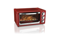 Toaster Oven Convection Cook Broiler Baker 2 Removable Racks Red Stainless Steel