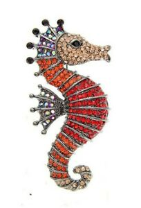 Brooch Pin Fish Seahorse Rhinestone Crystal Red And Orange