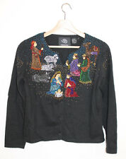 Michael Simon Event RARE Christmas Nativity Jesus Wise Men Beaded Cardigan S
