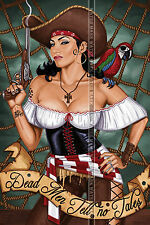 112 HIGH QUALITY POSTER CUTE FEMALE PIRATE BIG BREAST DEAD MEN TELL NO TALES